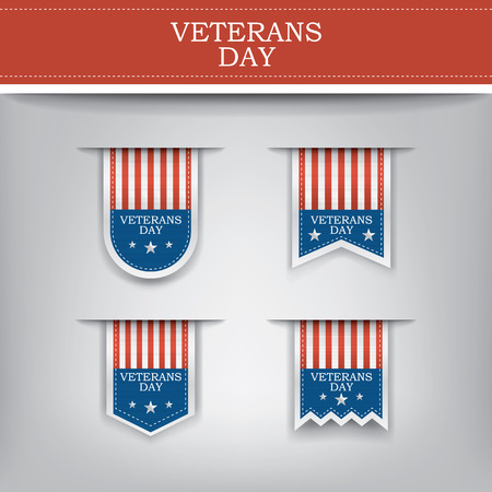 american soldier: Veterans day ribbon elements for websites.