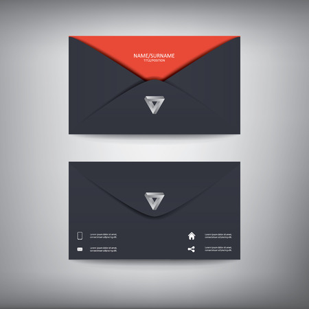 business style: Modern creative business card template in envelope shape, flat design.
