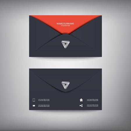 name card: Modern creative business card template in envelope shape, flat design.