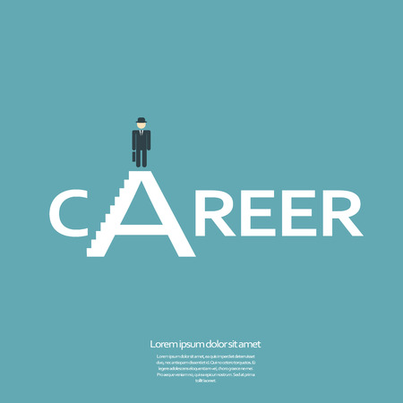 career development: Creative job career sign with businessman on top.  Illustration