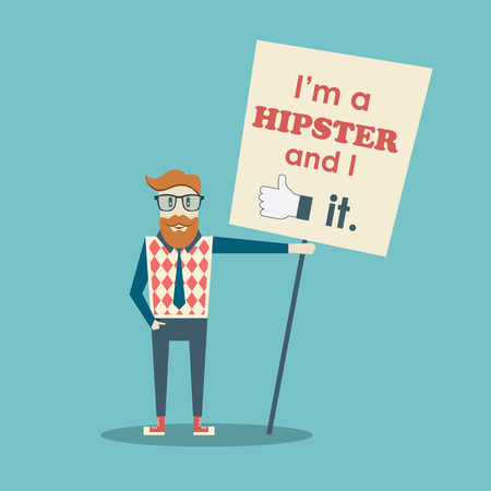cool guy: Funny hipster poster with slogan.  Illustration