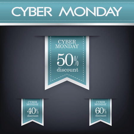 Cyber monday sales web elements with banners and discounts. Eps10 vector illustration.
