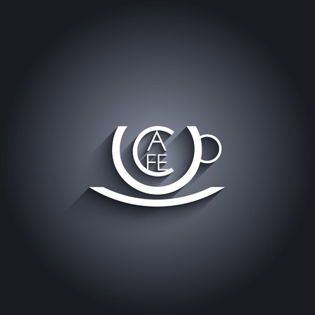 cafe sign: Coffee or cafe sign with creative typography and symbol of cup. Eps10 vector illustration