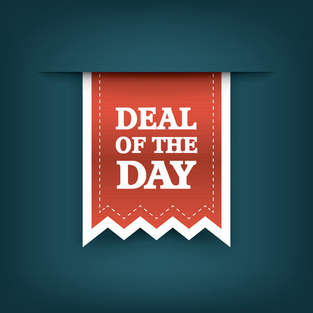 to deal with: Deal of the day vertical ribbon bookmark tag element for sales promotion. Eps10 vector illustration