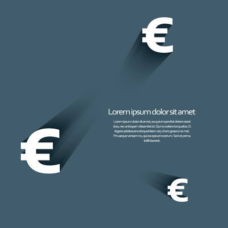 credit union: Euro currency sign with long shadow and 3d effect. Eps10 vector illustration. Illustration