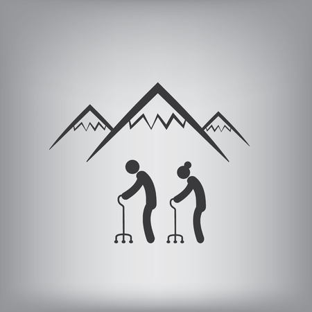 active seniors: Active senior adults hiking in mountains symbol. Eps10 vector illustration