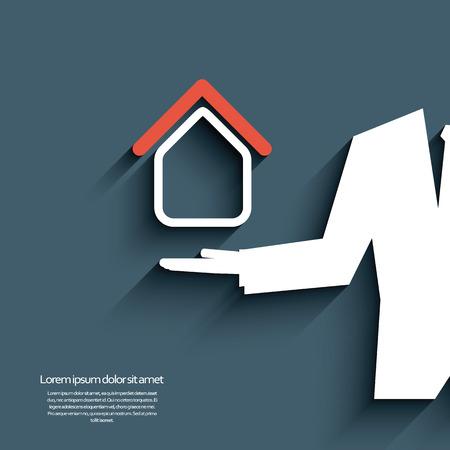 estate agent: Real estate agent offering housing. Eps10 vector illustration Illustration