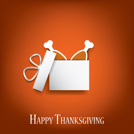 thanksgiving family: Thanksgiving background with turkey legs in a gift box. Eps10 vector illustration