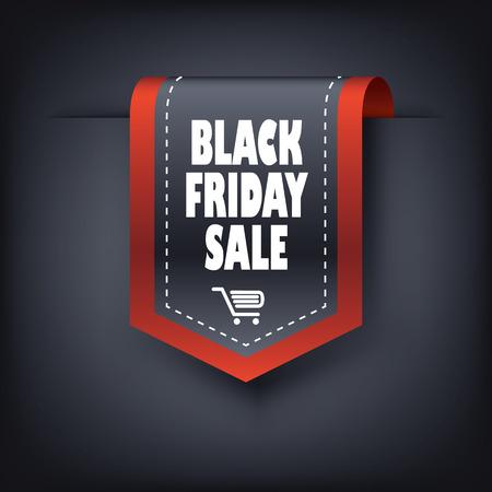 3d Black friday vertical ribbon bookmark elements for sales promotion. Eps10 vector illustration