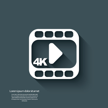 hd video: 4k ultra hd video icon isolated on background. Eps10 vector illustration.