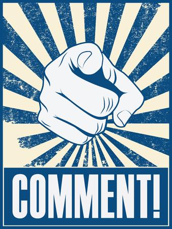 ballen: Motivierend Plakat-Design mit der Hand, die auf Sie oder den Betrachter Bestell Kommentar mit Ausrufezeichen. eps10 Vektor-Illustration Illustration