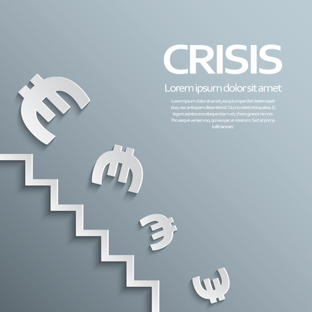 eurozone: European union and eurozone crisis concept with currency falling and losing value. Eps10 vector illustration