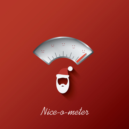 naughty: Christmas card with nice-o-meter with nice or naughty gauge. Eps10 vector illustration