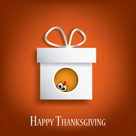 postcard box: Thanksgiving card vector design with traditional turkey in gift box. suitable for cards, flyers, posters, invitations. Eps10 vector illustration Illustration