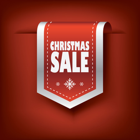 Elegant Christmas vertical ribbon tags with christmas sale text and snow symbols. Eps10 vector illustration. Ilustração