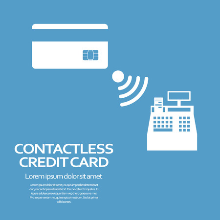 Contactless credit card payment concept. Modern technology advertisement. Eps10 vector illustration Vector