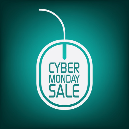 Cyber monday sale poster with mouse on green background for advertisement. Eps10 vector illustration Vector