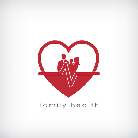 healthy kid: Family health symbol for healthcare business. Eps10 vector illustration.