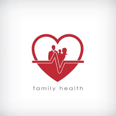 Rodzina zdrowia symbolem opieki zdrowotnej działalności. Eps10 ilustracji wektorowych. Ilustracja