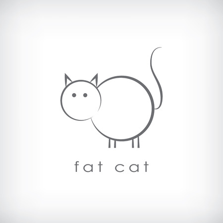 Fat cat symbol in simple lines design. Eps10 vecor illustration. Vector