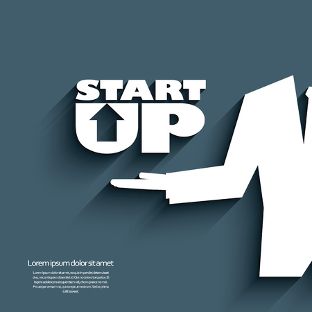 launching: Start up symbols with creative typography and businessman hand. Eps10 vector illustration.