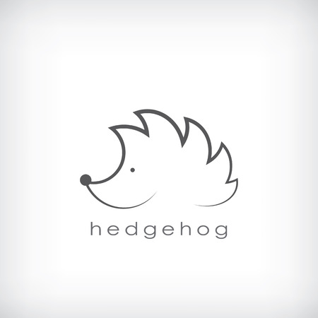 Cute little hedgehog symbol in simple outlines suitable for corporate identity. Eps10 vector illustration Vettoriali