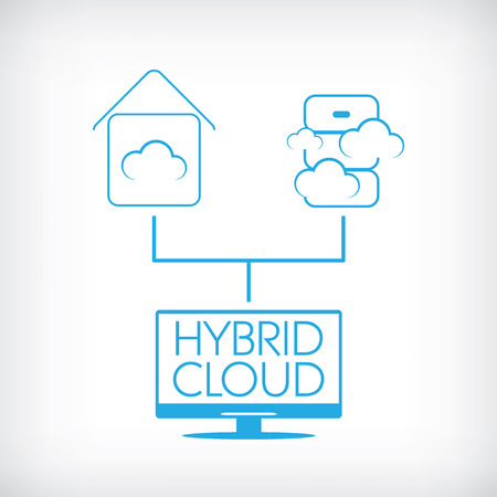 Hybride cloud computing-technologie concept met private en publieke data-opslag. Eps10 vectorillustratie