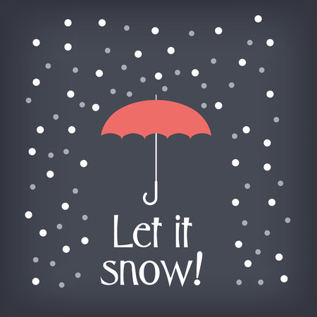 let it snow: Let it snow christmas card concept design with snowing and umbrella. Eps10 vector illustration