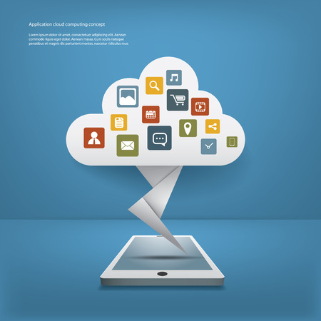 space program: Cloud computing concept vector illustration with applications icons and devices. Eps10 vector illustration for infographics or presentations Illustration