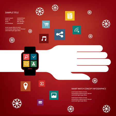 christmas promotion: Smart watch concept vector illustration with various applications icons suitable for presentations, infographics, promotion, advertising, etc. Christmas version Illustration