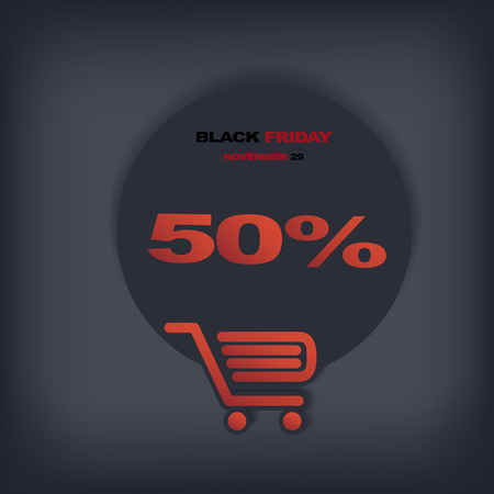 Black friday discount tag or sticker with different reductions. Eps10 vector illustration suitable for e-shop or advertising. Vector