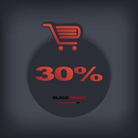eshop: Black friday discount tag or sticker with different reductions. Eps10 vector illustration suitable for e-shop or advertising. Illustration