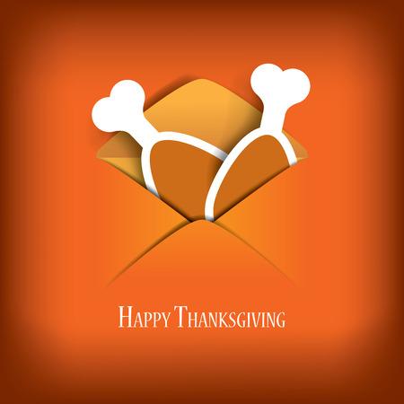 familia animada: Acción de Gracias tarjeta de ilustración vectorial de diseño con el pavo tradicional y el espacio para el texto. Ilustración vectorial Eps10.