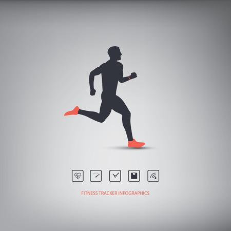 icono deportes: Gimnasio rastreador o inteligentes reloj infograf�a tecnolog�a port�til con conjunto de iconos para los seguidores de la aptitud. Ilustraci�n vectorial Eps10 Vectores