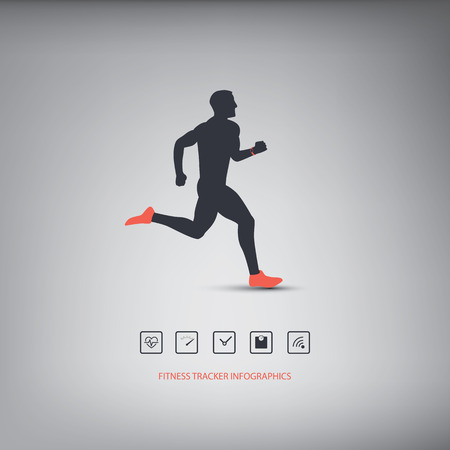 Fitness tracker or smart watch wearable technology infographics with set of icons for fitness trackers. Eps10 vector illustration