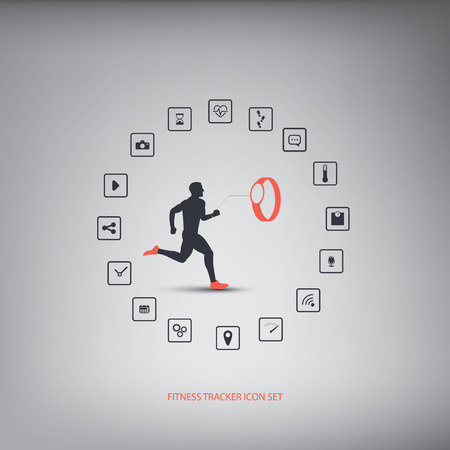 smart woman: Fitness tracker or smart watch wearable technology infographics with set of icons for fitness trackers. Eps10 vector illustration