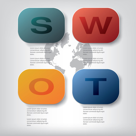 swot: SWOT analysis template with space for text and data presentation. Eps10 vector illustration