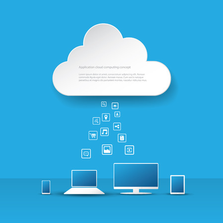 Cloud computing business concept with computer laptop tablet and smartphone and application icons. Eps10 vector illustration Vector