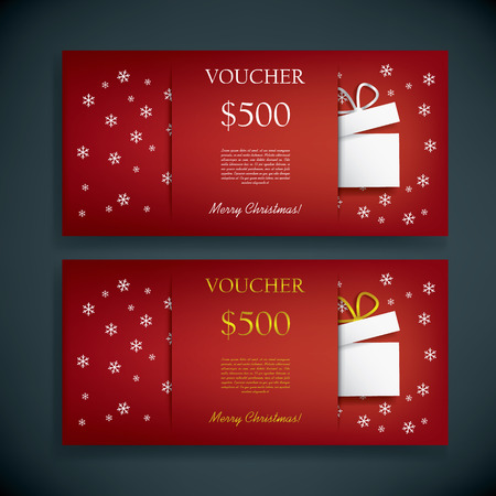 Christmas gift card voucher template with traditional background, present and space for your text. Eps10 vector illustration Vettoriali