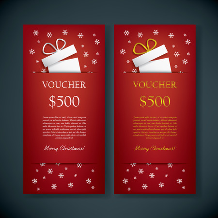gold gift box: Christmas gift card voucher template with traditional background, present and space for your text. Eps10 vector illustration Illustration