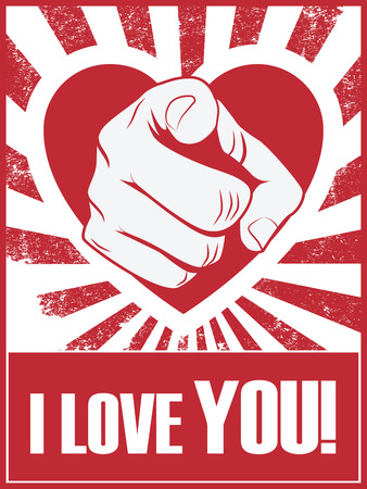 statement: Valentines day funny poster or postcard with hand pointing and love statement Illustration
