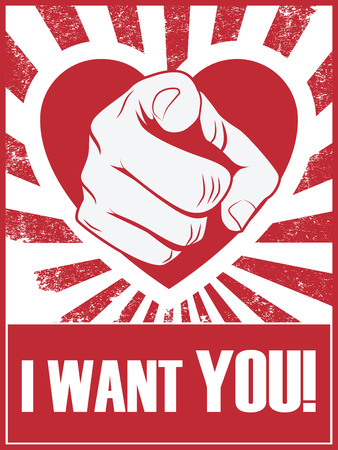 brutal: Valentines day funny poster or postcard with hand pointing and love statement Illustration