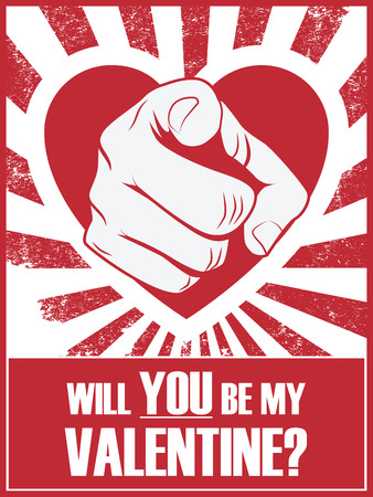 clench: Valentines day funny poster or postcard with hand pointing and love statement Illustration
