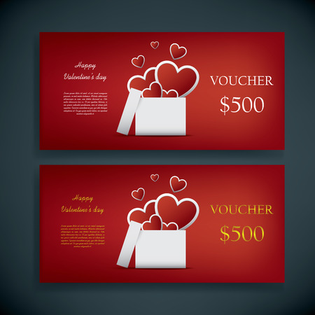 Valentines day gift card voucher template with traditional background, present and space for your text. Vector