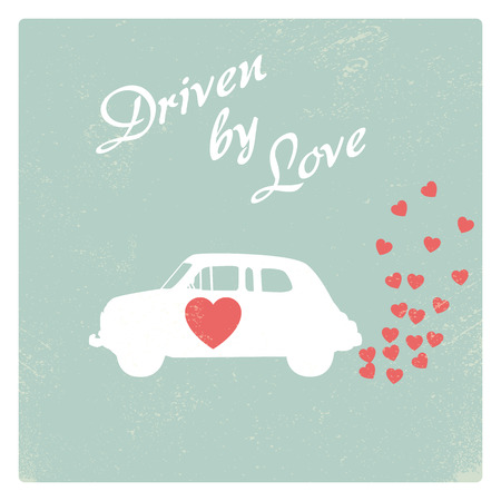driven: Vintage car driven by love romantic postcard design for Valentine card.  Illustration