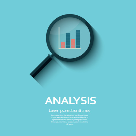 Business Analysis symbool met vergrootglas icoon en grafiek. Stock Illustratie