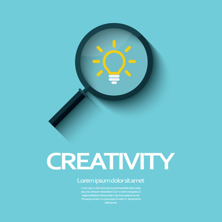 originality: Creativity symbol with magnifying glass icon and light bulb.  Illustration