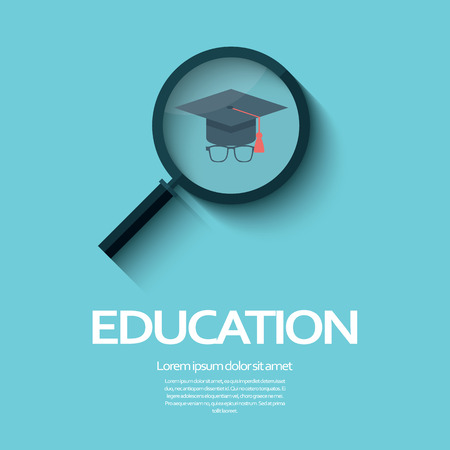 university choice: Education symbol with magnifying glass icon and graduation hat.