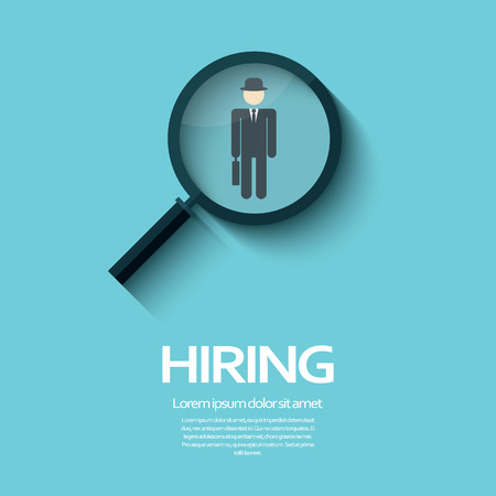 job search: Search for job symbol with magnifying glass in modern flat design.
