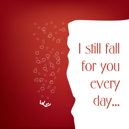 person falling: Valentines day concept illustration with a quote and person falling in love.